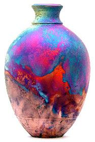 Copper Matt Raku Narrow Neck Vase by Chris Hawkins