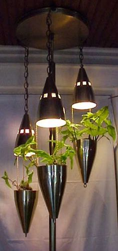 Tension pole lamp with three plant hanging pods!