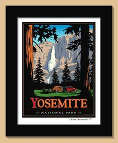 This is a digital piece of Yosemite Falls, originally done as a sample for self promotion. The inspiration for the National Park poster art came from a month long family road trip as a young child starting in Lansing Illinois, taking mostly route 66 and ending up in the LA area.