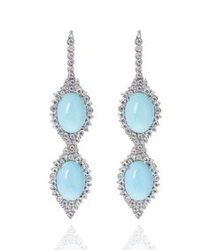 Carla Amorim earrings set with rare Sleeping Beauty turquoise in white gold, accentuated by brilliant-cut diamonds. Jade Jewelry, High Jewelry, Luxury Jewelry, Diamond Jewelry, Lotus Jewelry, Jewelry Box, Unusual Engagement Rings, Blue Gemstones, Turquoise Earrings