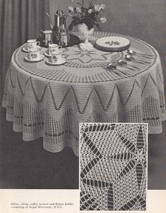Tablecloths and Bedspreads Crochet Patterns - Round Tablecloths.  Love this one for my round breakfast table