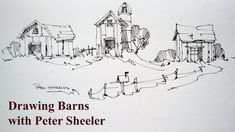How to draw barns, 3 different barns, quick easy and fun at speed. With Peter Sheeler Watercolor Video, Pen And Watercolor, Watercolour Tutorials, Watercolor Paintings, Watercolors, Watercolor Journal, Watercolor Trees, Gouache Painting, Watercolor Portraits