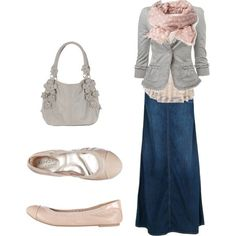 So cute I need to try wearing my blue jean skirts like this! Wearing long denim skirts without looking frumpy!