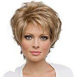 Short Fluffy Mature Women's Full Wigs