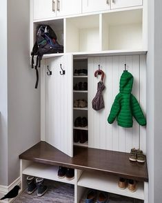 Under Stairs Storage Shoes Mud Rooms 25 Ideas Understairs Storage Ideas mud Room.Under Stairs Storage Shoes Mud Rooms 25 Ideas Understairs Storage Ideas mud Room.ideas mud room rooms shoes stairs Painted white cabinets with stained Coat Closet Organization, Home Organization, Ikea Shoe Storage, Garage Storage, Shoe Cubby, Hidden Storage, Kids Storage, Mudroom Storage Ideas, Small Mudroom Ideas