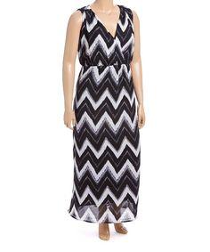 Black & White Chevron Maxi Dress - Plus