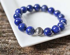 FREE SHIPPING 10mm Azura Lapis Lazuli Bracelet Gemstone Bracelet Sterling Silver Blue Bead Bracelet Mens Womens Bracelet Yoga Bracelet