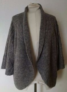 Chicos Cardigan Sweater 3 Gray Wool Mohair Open Front Shrug Cableknit 3/4 Sleeve #Chicos #Shrug #Casual