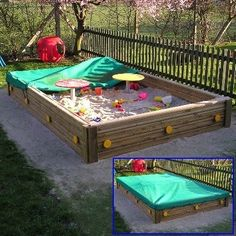 Brighton Sand Box includes play tables and cover. High-quality timber sand pit for playgrounds and play areas.topped Brighton Sand Box includes play tables and cover. High-quality timber sand pit for playgrounds and play areas. Kids Outdoor Play, Outdoor Play Spaces, Kids Play Area, Backyard For Kids, Backyard Projects, Outdoor Projects, Backyard Ideas, Garden Projects, Garden Ideas