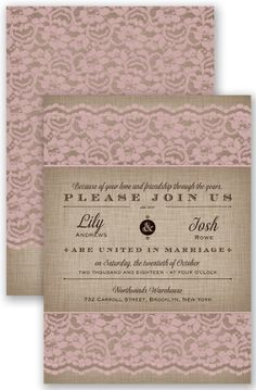 Rustic Lace Wedding Invitation by David's Bridal