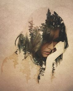 photography, double exposure landscape, face, portrait Landscapes Double Exposure Series-9
