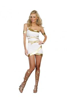 Two piece Greek Goddess Halloween Cosplay set Includes: Gold lamé trimmed goddess dress Arm Bands Also shown but not included: Headpiece Fabric: Knit - Polyester -Exclusive of Decoration Imported Roman Goddess Costume, Goddess Halloween Costume, Halloween Party Kostüm, Goddess Dress, Halloween Costumes, Halloween City, Pirate Costumes, Turtle Costumes, Cheap Halloween