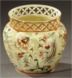 MANUFACTURE OF VILMOS ZSOLNAY TO PECS. Vase bulging belly glazed porcelain polychrome decorated with floral motifs. Signed the stamp to five churches, Zsolnay Pecs and numbered. Porcelain Ceramics, Floral Motif, Minerals, Artisan, Arts And Crafts, Pottery, Antiques, Budapest, Beautiful