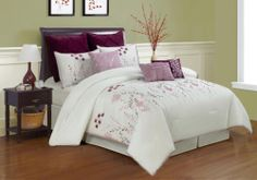 9 Piece Queen Lucern Purple and Pink Embroidered Comforter Set