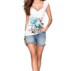 Maglia blusa donna con maniche corta e decorazione con stampa floreale.