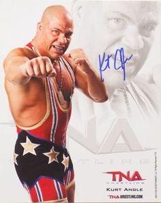 kurt angle tna signedautographed 8x10 impact studio photo si
