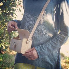 Wood & Leather Bag NATURE Leather Purse Woodbag от MuhaHandmade