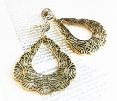 Brass Lace Earrings by EridaneasBoutique on Etsy
