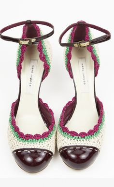 Marc Jacobs Ivory, Green And Fuchsia Crocheted Pump | VAUNTE