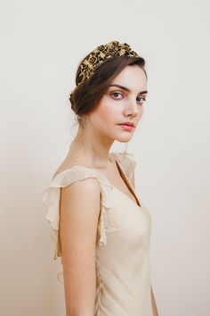 Dulcina Bandeaux in Antique Gold by Jennifer Behr
