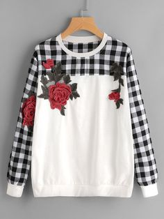 Stagioni Fashion for Women, Sweatshirts for Women. Item: Contrast Check Plaid Embroidered Appliques Sweatshirt for Women Cute Fashion, Look Fashion, Fashion Outfits, Fashion Design, Fashion Vintage, Trendy Fashion, Black Dress Outfits, Casual Outfits, Cute Outfits