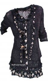 Pretty Angel Clothing Layered Victorian Tunic In Black at Styles2you.com