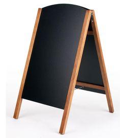 21 x 34 A-frame Chalkboard, Black Wet Erase Surface, Removable Boards, 2 Sided, Teak
