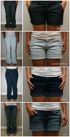 Creative Life Hacks Every Girl Should Know Guide for four ways to turn pants into shorts, with very simplistic photos and instructions.Guide for four ways to turn pants into shorts, with very simplistic photos and instructions. Looks Style, Looks Cool, My Style, Diy Clothing, Sewing Clothes, Summer Clothing, Designer Clothing, Diy Clothes For Summer, School Clothing