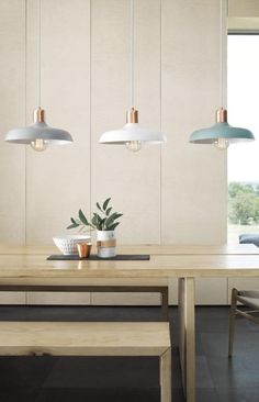 Lights for the dining are decided! Beacon Lighting - Croft 1 light metal pendant in ash with brushed copper detail Grey for over kitchen bench Kitchen Lighting Over Table, Kitchen Pendant Lighting, Kitchen Pendants, Dining Room Table, Light Pendant, Table Lamps, Dining Rooms, Copper Kitchen, Lights Over Dining Table