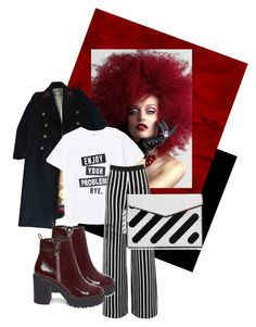 A fashion look from March 2018 featuring cotton shirts, wool coat and high-waist trousers. Browse and shop related looks. Off White, Steve Madden, Mango, Gucci, Shoe Bag, Polyvore, Stuff To Buy, Shopping, Collection