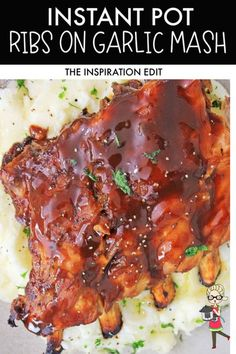 This is the best fall-of the-bone Ribs on Garlic Mash recipe that you can cook with your Instant Pot. The thick sauce and the tenderness of the meat is perfect that you'll gonna love this recipe in every bite. Download the super easy and FREE recipe at The Inspiration Edit. #instantpot #instantpotrecipe #ribsongarlicmash #ribsrecipe #instantpotpork #instantpotribsrecipe #thicksweetsauce. #dinner #foodidea