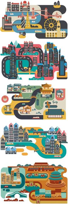Cities by Jing Zhang. Travel and map illustration Flat Design Illustration, Travel Illustration, Digital Illustration, Graphic Illustration, Game Design, Web Design, City Poster, Affinity Designer, Illustrations And Posters