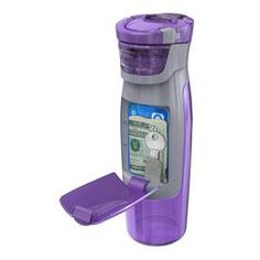 PROBLEM SOLVED!  A water bottle with a hidden storage compartment for money, credit cards or keys!  Love that now I don't have to carry anything but my water bottle when I'm at the gym or out for a bike ride, walk or run!   Marcy (marcymckenna.com)