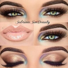Hazel eye makeup. This is pretty much exactly my color. Green with ...