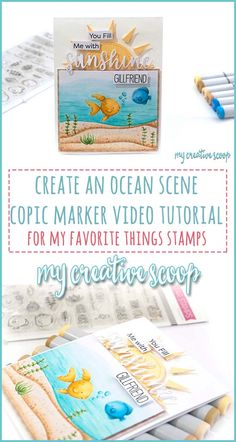 Create an Ocean Scene Copic Marker Video Tutorial for MFT Stamps Shading Techniques, Colouring Techniques, Copic Marker Art, Sketch Markers, Alcohol Markers, Alcohol Inks, Free Coloring Pages, Coloring Tips, Copic Markers Tutorial