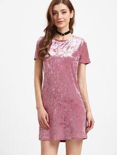 Shop Pink Short Sleeve Velvet Dress online. SheIn offers Pink Short Sleeve Velvet Dress & more to fit your fashionable needs.