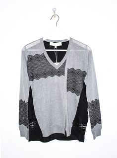 V Front Pullover in Charcoal and Black Patchwork Lace Jacquard  BY THAKOON