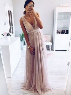 Elegant A-Line V Neck Blush Long Prom Dress – shinydress Blush Prom Dress, Bridesmaid Dresses, Prom Dresses, Formal Dresses, Wedding Dresses, Blush Colored Dresses, Pearl Dress, Dress For You, Making Ideas