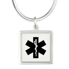 EMS Star Of Life Silver Square Necklace for EMT and Paramedics