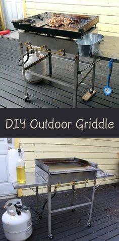 DIY Outdoor Griddle - Home griddles are becoming more and more popular. They are an awesome way to make food when entertaining a group of people. They basically are a big piece of steel with burners that heat the steel. Griddle Grill, Bbq Grill, Barbecue, Grilling, Gas Bbq, Backyard Projects, Outdoor Projects, Homemade Grill, Outdoor Cooking Recipes
