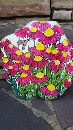 Hand-Painted Flowers Rock by nancygirlcreations on Etsy