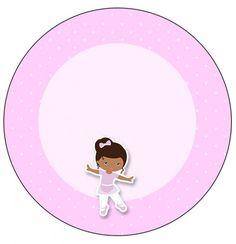 Rótulo Tubetes, Latinhas e Toppers Bailarina Afro Rosa: