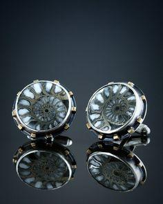 Fossil Pyritized Ammonite Cufflinks by amybuettner on Etsy