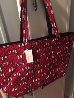 3cb603a7d Vera bradley Iconic Grand red Christmas Tote Penguins Reverses To Black And  whit