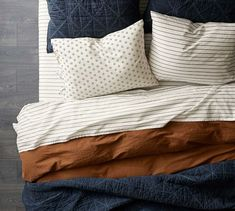 decoration The Emily & Meritt Garment Dyed and Triple Washed Organic Cotton Duvet Cover & Shams - Sp Bedding Master Bedroom, Dream Bedroom, Home Bedroom, Bedroom Decor, Indigo Bedroom, Bedroom Ceiling, Bedroom Wallpaper, Bedroom Colors, Cotton Duvet