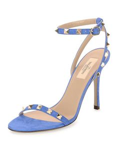 Rockstud Suede Naked Sandal, Light Sapphire by Valentino at Neiman Marcus.
