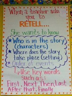 Use Recount instead Retelling Anchor Chart. Good for kids who need to work intensively on basic reading skills. Paired, possibly, with visuals for kids with limited proficiency or processing issues. Reading Strategies, Reading Skills, Reading Comprehension, Comprehension Strategies, Reading Response, Partner Reading, Reading Logs, Ela Anchor Charts, Reading Anchor Charts