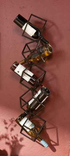 5 Bottle Wall Mounted Wine Rack - Black brushed metal finish 5 abstract geometric cubes stacked on top of each other Wine Rack Design, Wine Rack Wall, Wine Racks, Bottle Wall, Wine Storage, First Home, Kitchen Furniture, Furniture Ideas, 3 D