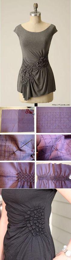 Coser los pliegues de tela y esponja sus propias manos