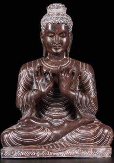 "View the Black Marble Dharmachakra Buddha 19"""
